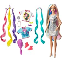 Barbie Fantasy Hair Doll, Blonde, with 2 Decorated Crowns, 2 Tops & Accessories for Mermaid and Unicorn Looks, Plus…