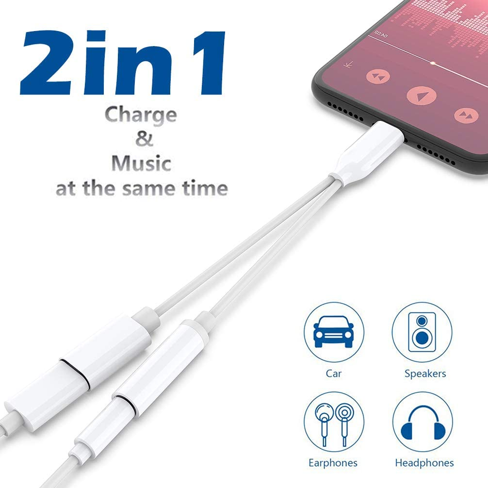 Headphone Adapter for iPhone 8 Dongle Earphone 3.5mm Jack AUX Cable Audio Adaptor Splitter for iPhone 8Plus//7//7Plus//X//XS max Music /& Charge Cable Convertor Accessories Support iOS 12 Black White