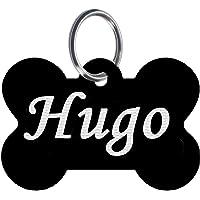 Custom Engraved Pet ID Tag Pendant Key Tag Black Bone