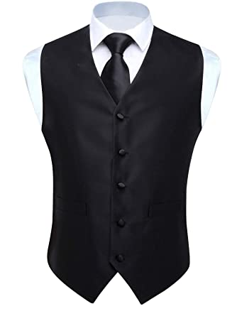 d44c86ad3c000 Hisdern Men's Solid Color Jacquard Waistcoat & Necktie and Pocket Square  Vest Suit Set Black
