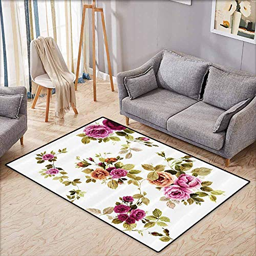 - Skid-Resistant Rug,Watercolor Flower Decor Collection,Branch of Rose Blossoming Classic Floral Design,Rustic Home Decor,4'11