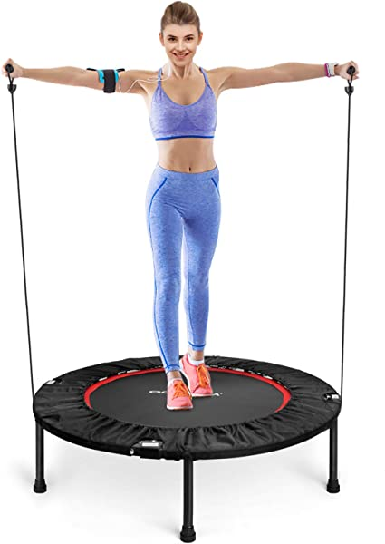 ODOGYM 40 inch Foldable Portable Trampoline for Adults and Kids Mini Fitness Trampoline for Indoor Outdoor Round Jumping Rebounder Trampoline with Safety pad Workout Max Load 330lbs