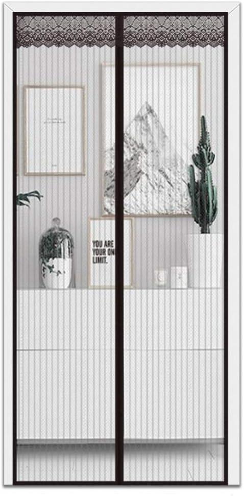 Negro Mosquitera magnética para puertas cortina Gancho y Bucle Manos libres Puerta mosquiter Transparente Espesar Volar Error de mosquitos Insecto Pantalla Se Puerta-negro 31x87