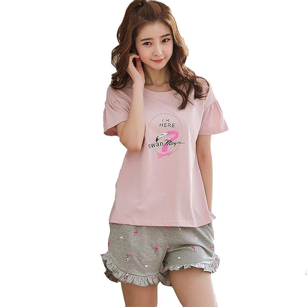 Girls//Big Girls Cartoon Flamingo//Hedgehog Pink Shorts Pajamas Set Summer Casual Sleepwear