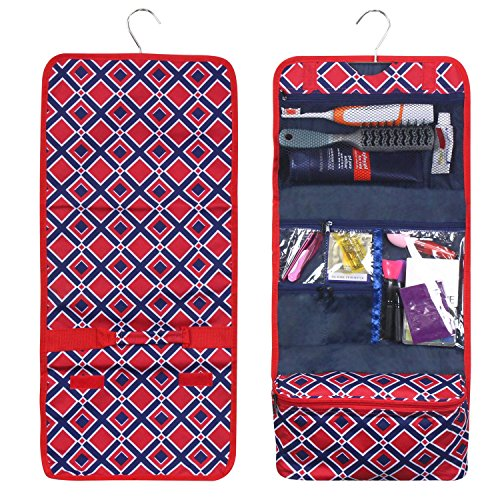 (Zodaca Travel Hanging Cosmetic Toiletry Organizer Carry Bag, Red Times Square)