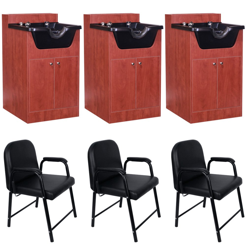 3 Beauty Salon Equipment Hair Shampoo Bowl Cabinet Chair Package EB-631CP