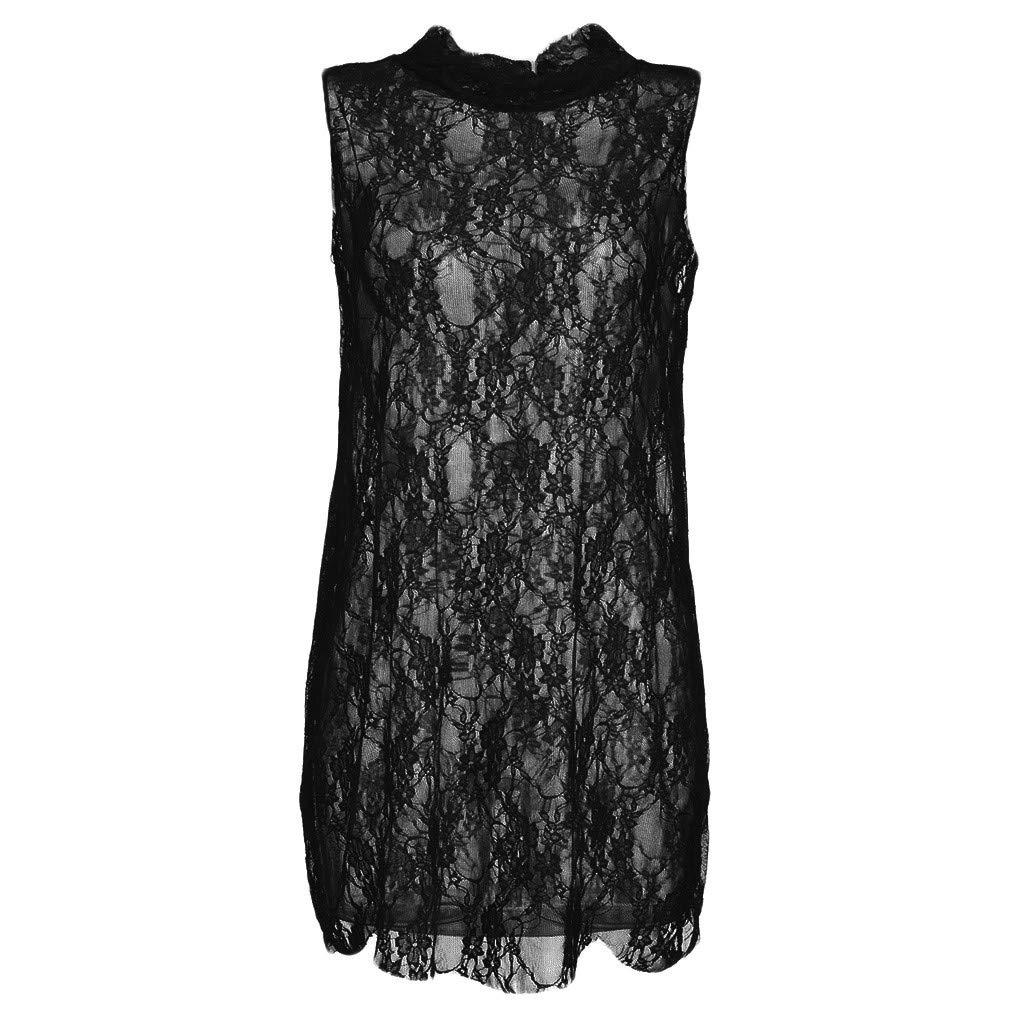 Sexy Lingerie for Women Sheer Lace Babydoll Hem Dress Sleeveless Mini Nightdress (Black, L)