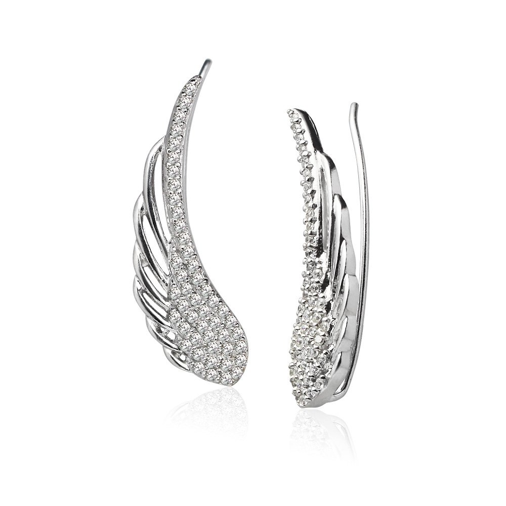 LOVVE Sterling Silver Cubic Zirconia Angel Wings Ear Cuff Crawler Climber Hook Earrings