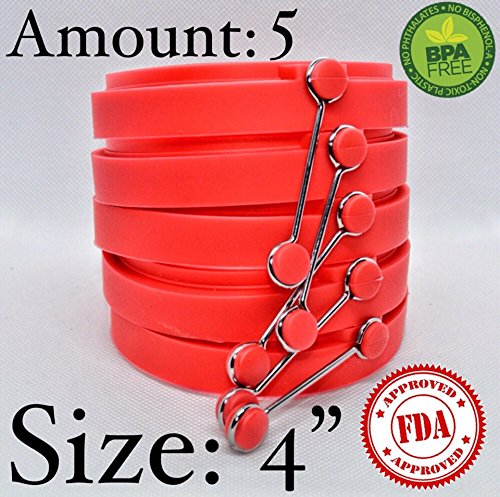 LIVELY set of 5 Non-stick Silicone Egg Ring Pancake Molds - Red