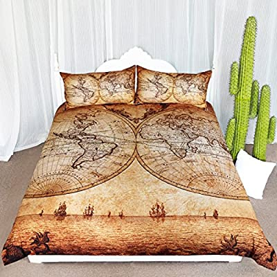 ARIGHTEX Vintage Map Bedding 3 Pieces Antique Medieval World Map Duvet Cover for Young Adult Kids Travelers Retro Bedclothes (Queen): Home & Kitchen