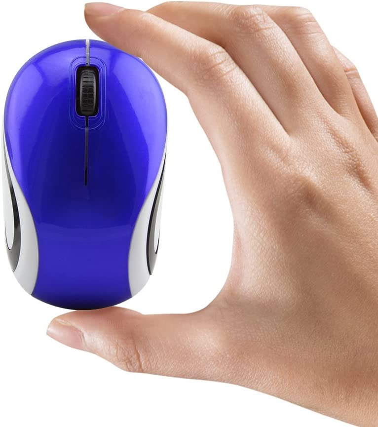 Mini Small Wireless Mouse for Travel Optical Portable Mini Cordless Mice with USB Receiver for PC Laptop Computer (Blue)