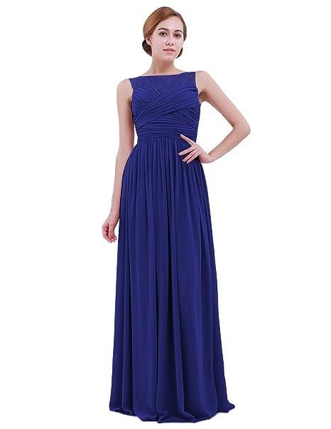 iEFiEL Vestido Largo de Encaje Princesa Boda Fiesta para Mujer Dama de Honor Vestido Elegante Azul