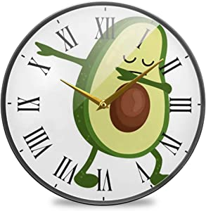 SLHFPX Wall Clock Silent Non Ticking Avocado Green Food Funny Clocks Battery Operated Vintage Quartz Analog Noiseless Round Decor Wall Clock for Kitchen Bedroom Living Room Dorm