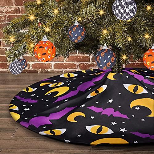 tiosggd Halloween Tree Skirt, Bats Moon Cat Eyes 48 Inches Xmas Tree Mat, Nightmare Before Christmas Fall Party Decorations
