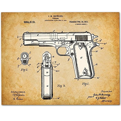 1911 Colt 45 Gun Patent - 11x14 Unframed Pistol Patent Print - Great Gift for Gun Owners