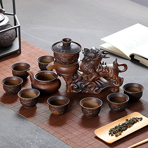 Chinese Hot Tea Service Set Handmade Automatic Kylin Design Firewood Crude Pottery Kongfu Teapot W/ 8 Teacup Clay Gift Set for Adults Parents Tea Lovers Business Friend Wedding Christmas Decor by Ufine (Image #6)