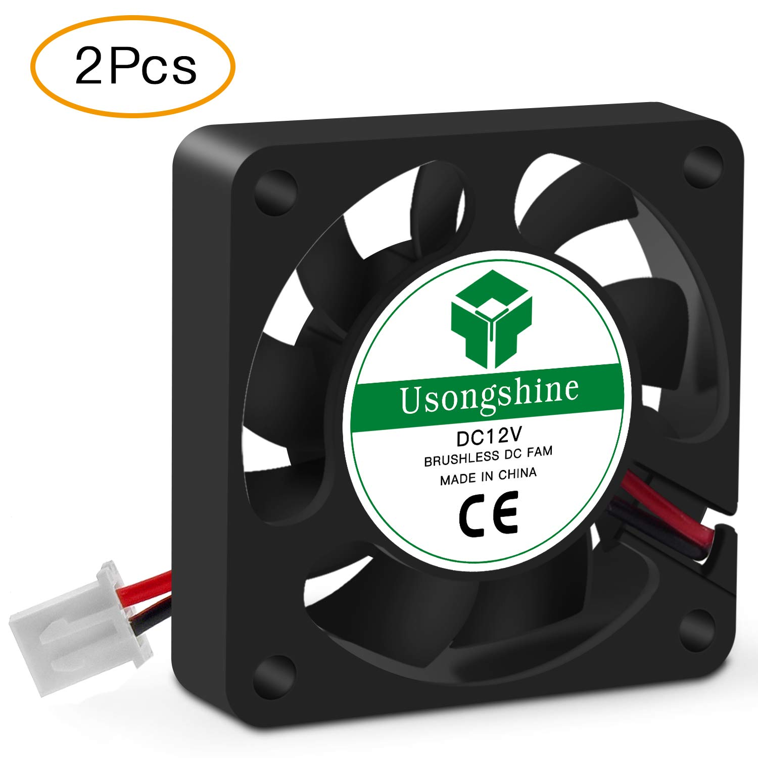 Usongshine 3D Printer Cooling Fan 40 x 40 x10mm 4010 DC 12V Cooling Fan with 2Pin Wire, 2 Packs of Mounting Screws (12V Pack of 2)