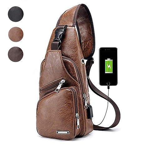 Multipurpose Bag Waterproof Shoulder Men's Daypacks Brown Leather Sling Backpack Crossbody P8OkXn0w