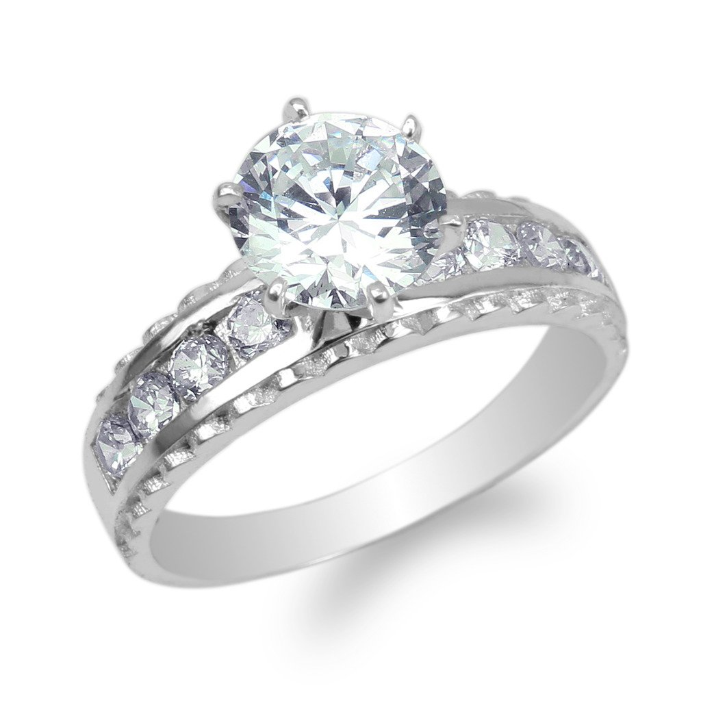 JamesJenny Womens White Gold Plated 1.65ct Round CZ Fancy Solitaire Ring Size 4-10 2 & 5 Jewelry Inc. TR214ELWGF04-$P