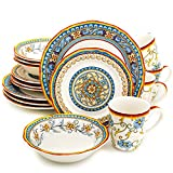 Euro Ceramica Duomo Collection Italian-Inspired 16 Piece Ceramic Dinnerware Set, Floral Design, Multicolor