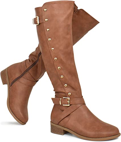 Women Leather Riding Knee High Boots Strappy High Block Heels Zipper Chic Shoes