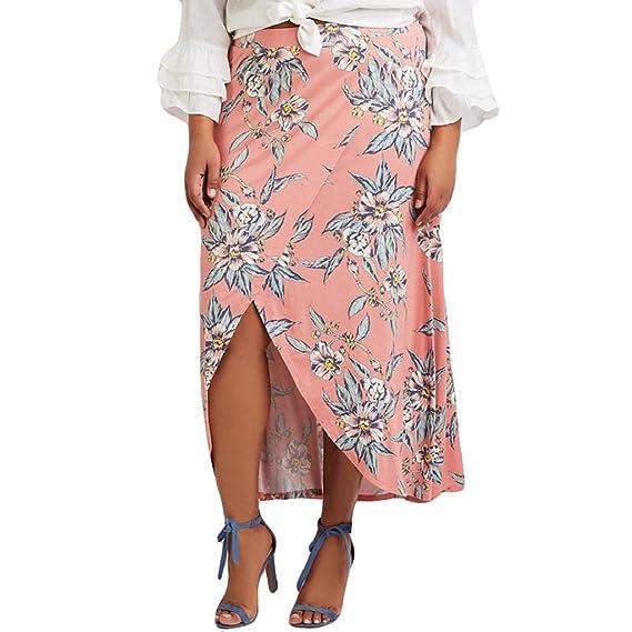 Sallydream Fiesta de Verano Cintura Alta Falda de Mujer AsiméTrica ...