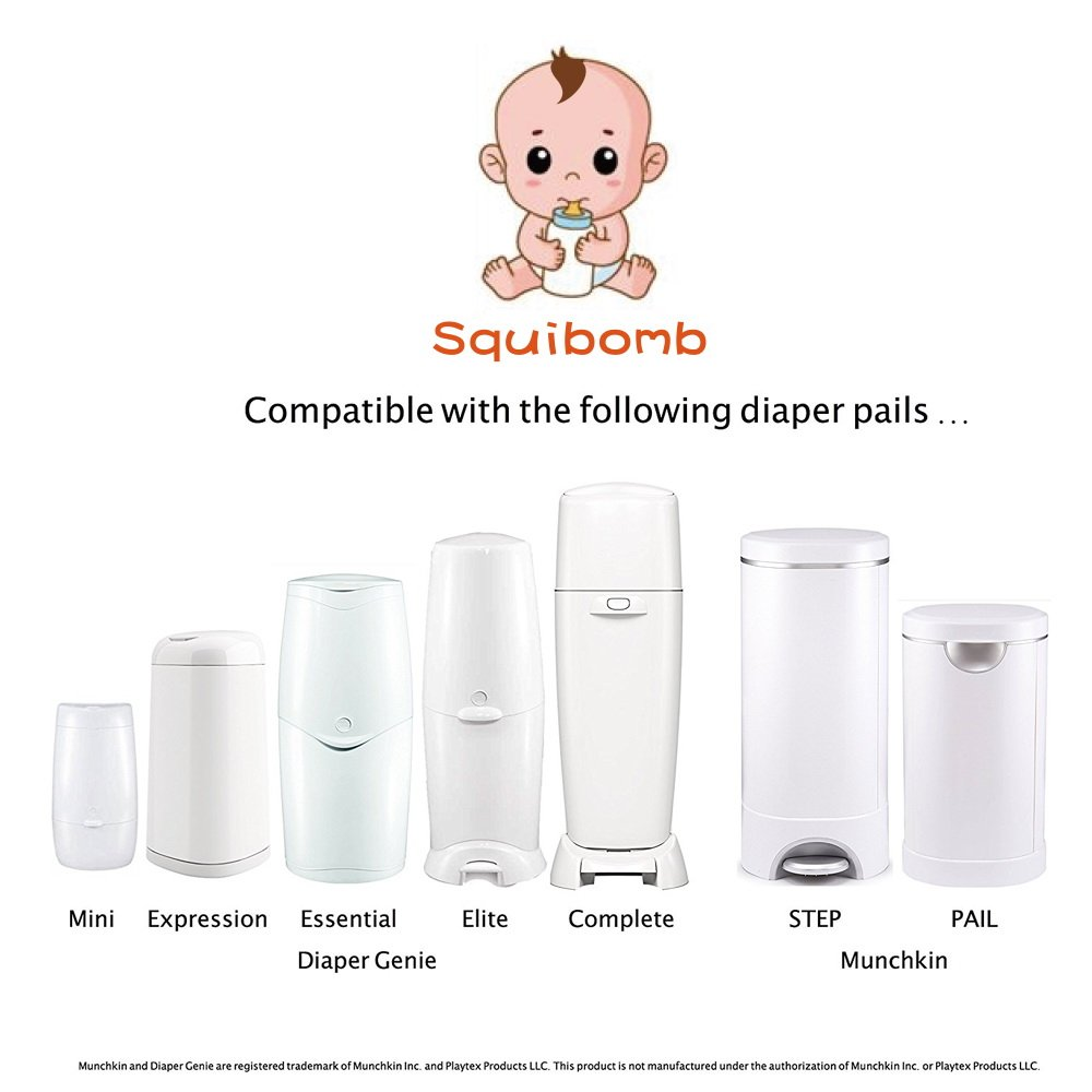 Squibomb Refill Bags for Genie and Munchkin Diaper Pails Scented Diaper Disposal Bags 4 Pack, 1280 Counts, 6 Month Supply With a Bonus Present by squibomb (Image #2)