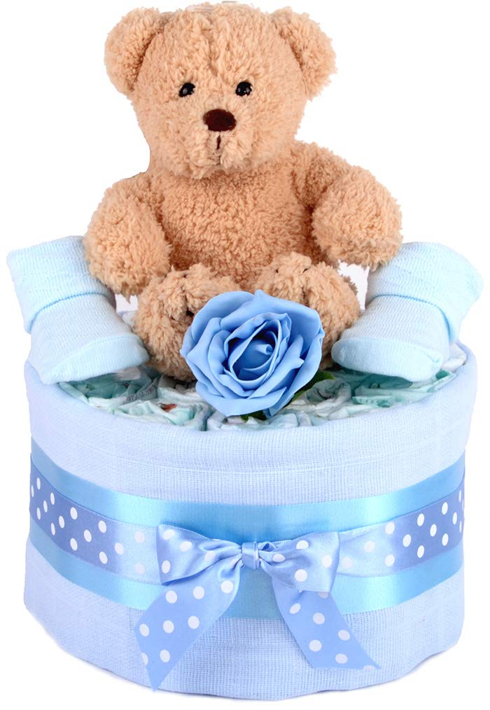 PureNappyCakes Luxury Deep Filled New Baby Shower Nappy Cake Blue, 3 Tiers