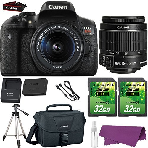Canon Starter Kit (Canon EOS Rebel T6i DSLR Camera with Canon EF-S 18-55mm f/3.5-5.6 IS STM Lens. + 2 Pieces 32GB SD Memory Card + Canon Bag + Cleaning Kit)