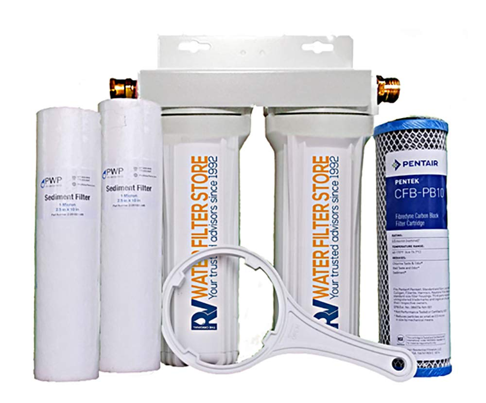 Essential RV Water Filter System with Hose Fittings - Premium RV Water Filtration System with Cyst Removal by RV WATER FILTER STORE