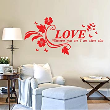 Monsin floral quote love wall decal sticker self adhesive flower peach blossom tree branch instant