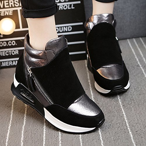 ... Giy Femmes Mode Haute Top Sneaker Plate-forme Augmenté Hauteur Wedge  Casual Sport Chaussures Noir 95561db97b83