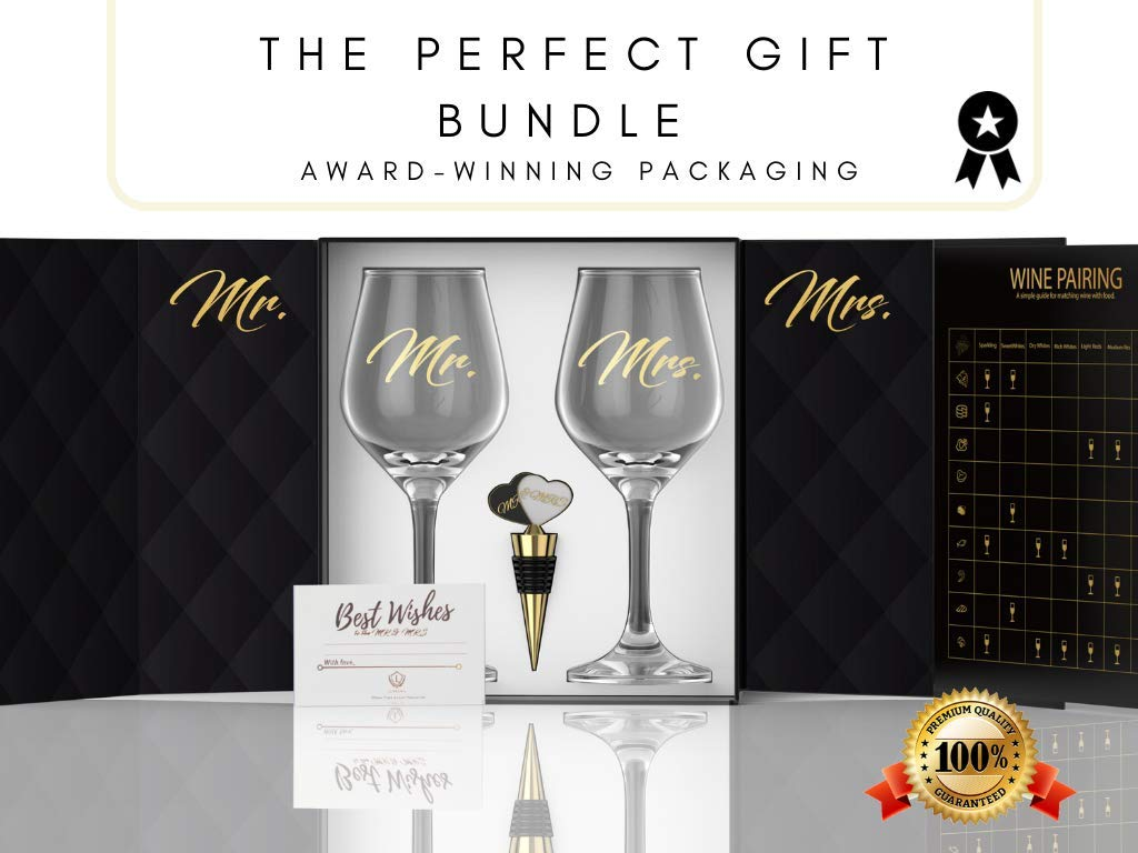 LUXURY MR & MRS WINE GLASS SET FOR COUPLES- Best Engagement Gifts for Her, Bride & Groom, Bridal Shower Gifts, Wedding Gifts For The Couple- FREE Wine Stopper, Glass Marker & Gift Card by LUXLOVE (Image #2)