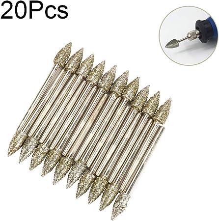 20PCS 3mm Shank Diamond Grinding Needle Carving Polishing Set Mounted Point New