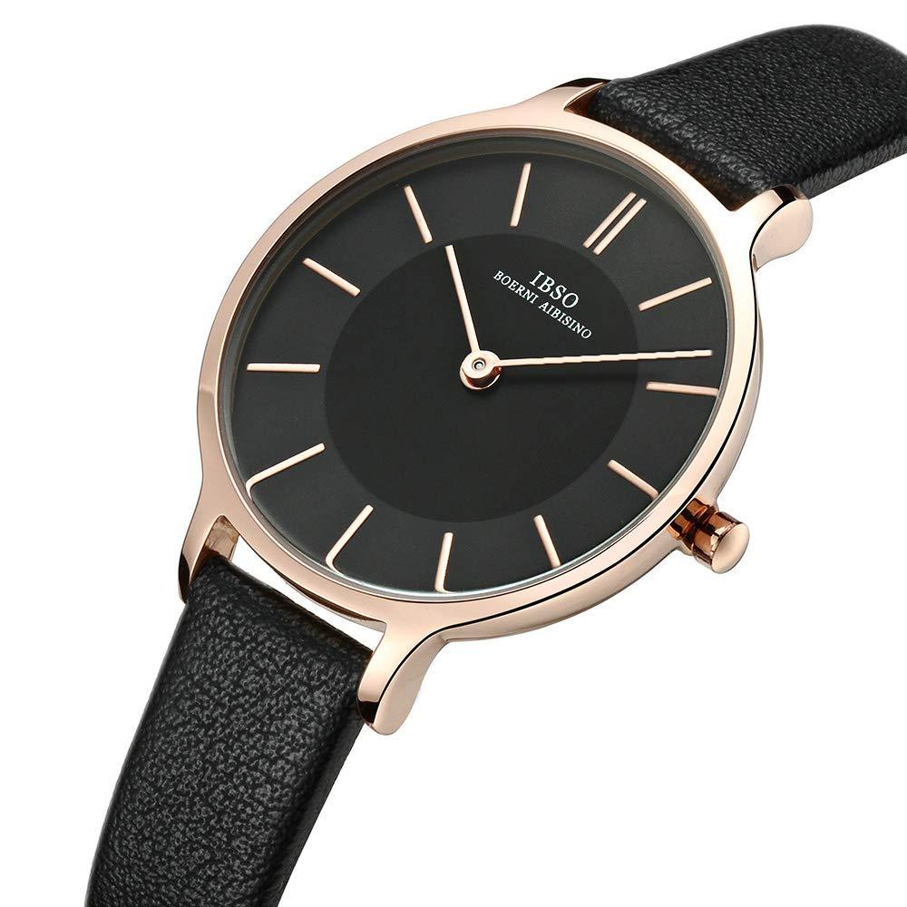 9ae1032ff Amazon.com: IBSO Women Fashion Simple Watch Ultra-Thin Retro Quartz Analog  Leather Strap Ladies Wristwatch (Black): Watches