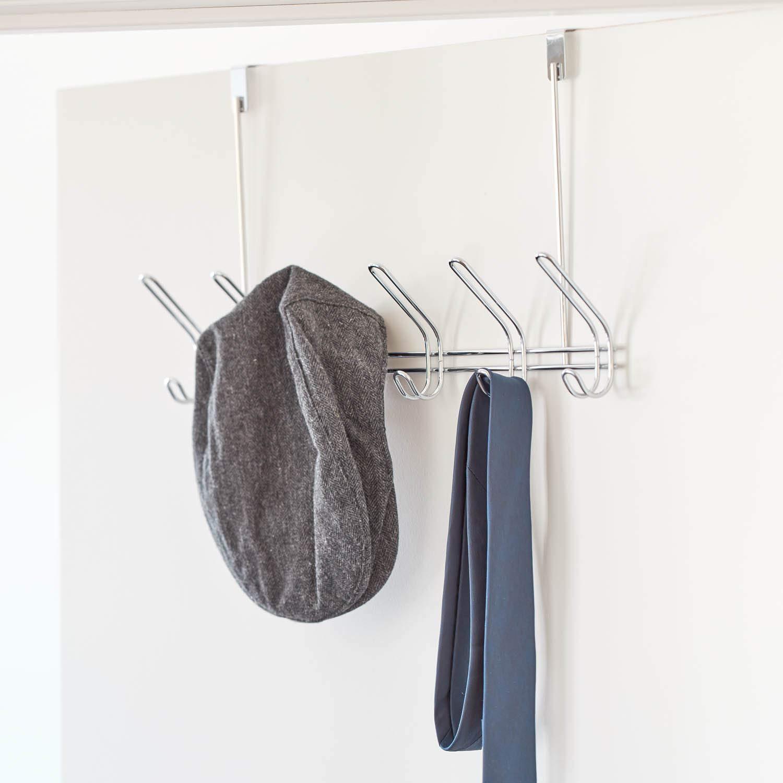 percha para puerta para colgar chaquetas perchero de puerta grande de metal color cobre iDesign Colgador de ropa con 6 ganchos dobles sombreros o toallas