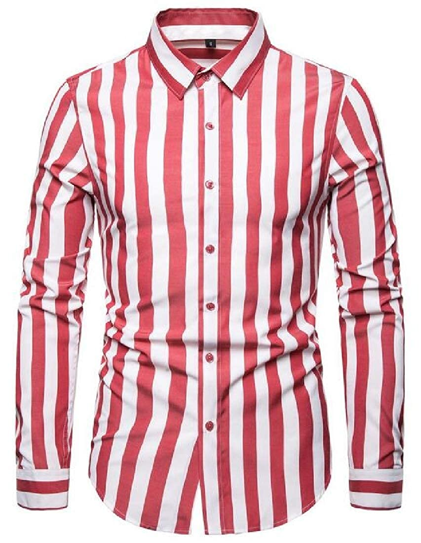 CRYYU Men Shirts Casual Stripe Print Long Sleeve Button Up Loose Dress Shirt Top