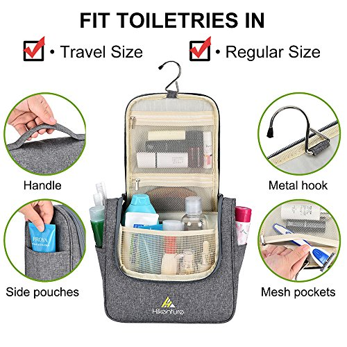 Travel Hanging Toiletry Bag by Hikenture | Cosmetics, Makeup and Toiletries Organizer | Compact Bathroom Storage | TSA Friendly | Home, Gym, Airplane, Hotel, Car Use(Grey)