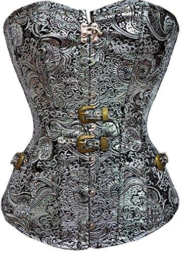 BAIXITE Women's Bustier Corset Sexy Satin Brocade Overbust Waist Cincher Shapewear Top
