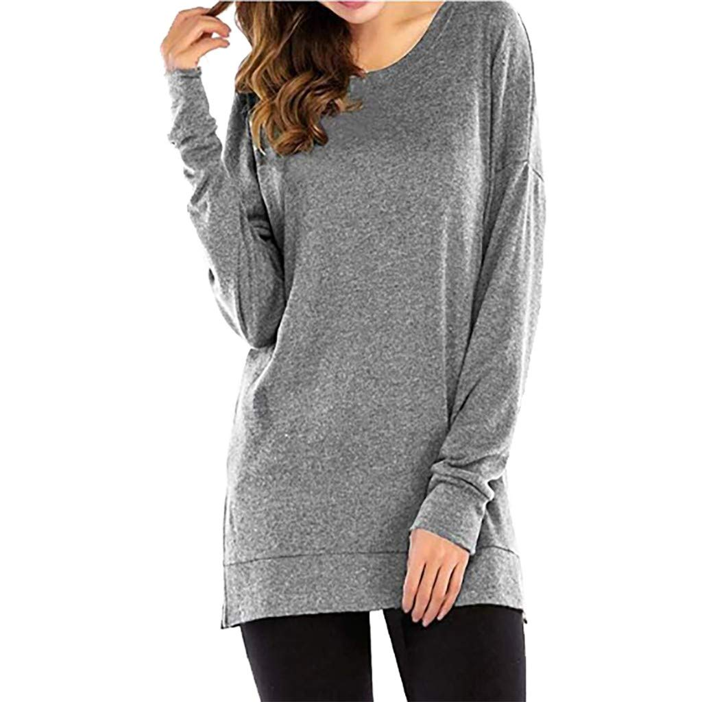❀HebeTop❀ Women Long Sleeve O Neck Tunics T-Shirts Loose Fit Tops Casual Blouse Gray by HebeTop➟Women's Clothing