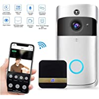 KOBWA Sonnette WiFi Costume, Wireless Video Doorbell 720P Caméra HD WiFi Vidéo Real-Time Audio bidirectionnel Night Vision App Motion Motion Burglar iOS, Android, Windows