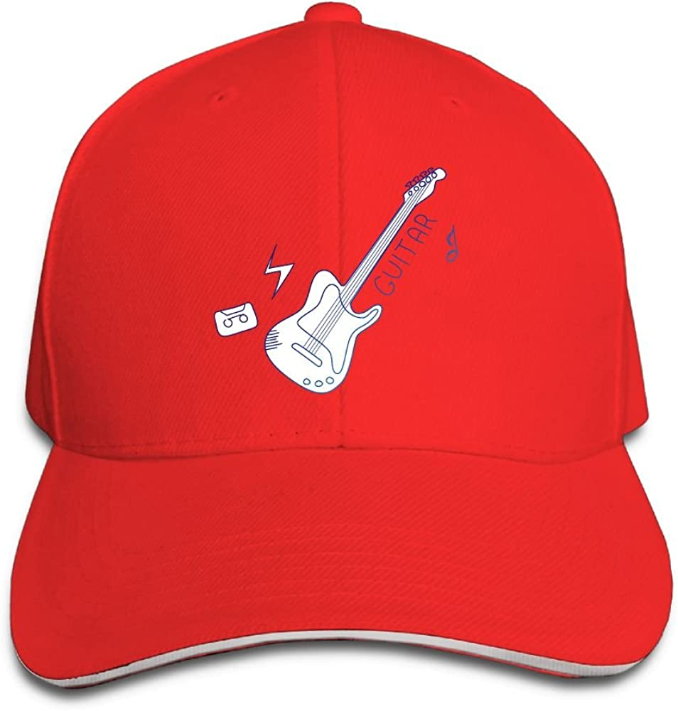 Unisex Blue Guita Vintage Art Sandwich Peaked Cap Adjustable Cotton Baseball Caps