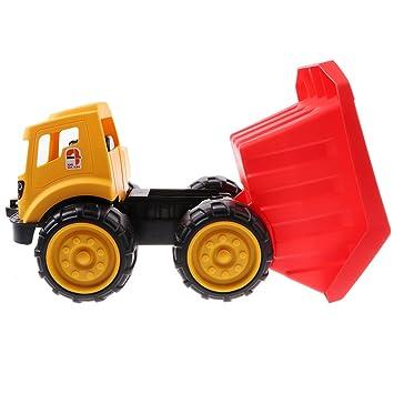 D DOLITY Juguete de Modelo Inercial de Vehículo de Ingeniería de Plástico con Ruedas de Goma para Niños - A Camión: Amazon.es: Juguetes y juegos