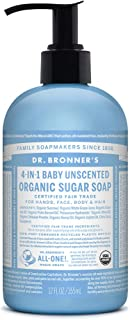 product image for Dr. Bronner's - Organic Sugar Soap (Baby Unscented, 12 Ounce) - Made with Organic Oils, Sugar and Shikakai Powder, 4-in-1 Use: Hands, Body, Face and Hair, Moisturizes and Nourishes, No Added Fragrance