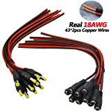 [Real 18AWG 43x2pcs Wires] 10 Pairs DC Power Pigtail Cable, 12V 5A Male & Female Connectors for CCTV Security Camera and Lighting Power Adapter by MILAPEAK (2.1mm x 5.5 mm, Ultra Thick 18AWG)
