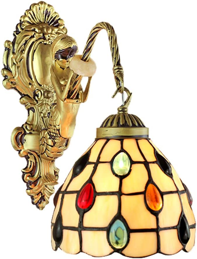 FKG Tiffany Mosaico de Pared de luz clásica Tradicional lámpara de Pared turca otomana de Piedras Preciosas Vidrio Pintado de Bronce Hierro Forjado Sirena 1 Cabeza E27