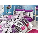 Ranforce 100% Cotton Purple Paris Eiffel Tower 4 PCS Vintage Theme Themed Full Queen Size Quilt Duvet Cover Set Bedding Linens