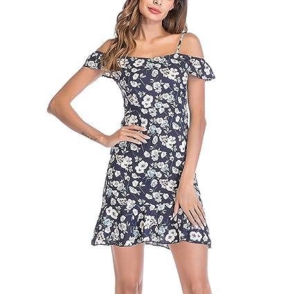 ESAILQ Dress, Womens Floral Chiffon Slim Sling Cold Shoulder Ruffle Beach Mini: Amazon.co.uk: Clothing