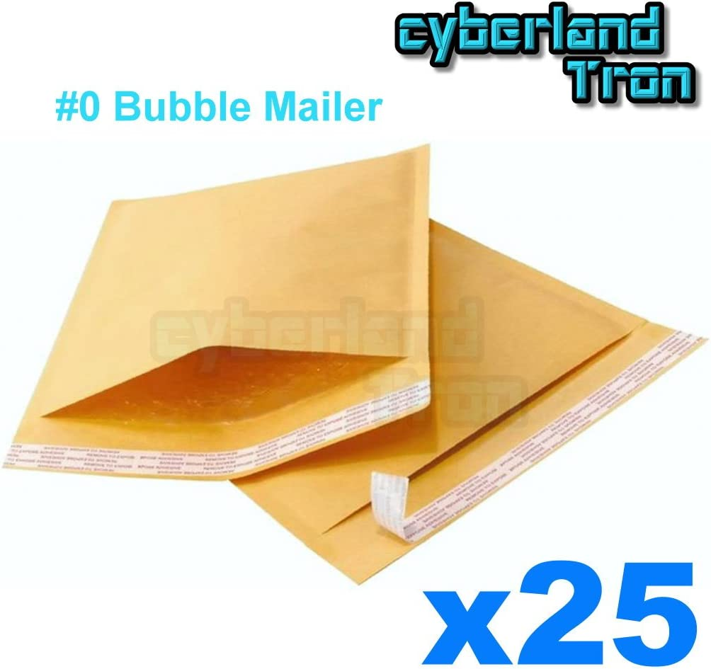 50 #0 6.5 x 10 Kraft Bubble Mailer Shipping Mailing Padded Envelopes Bags