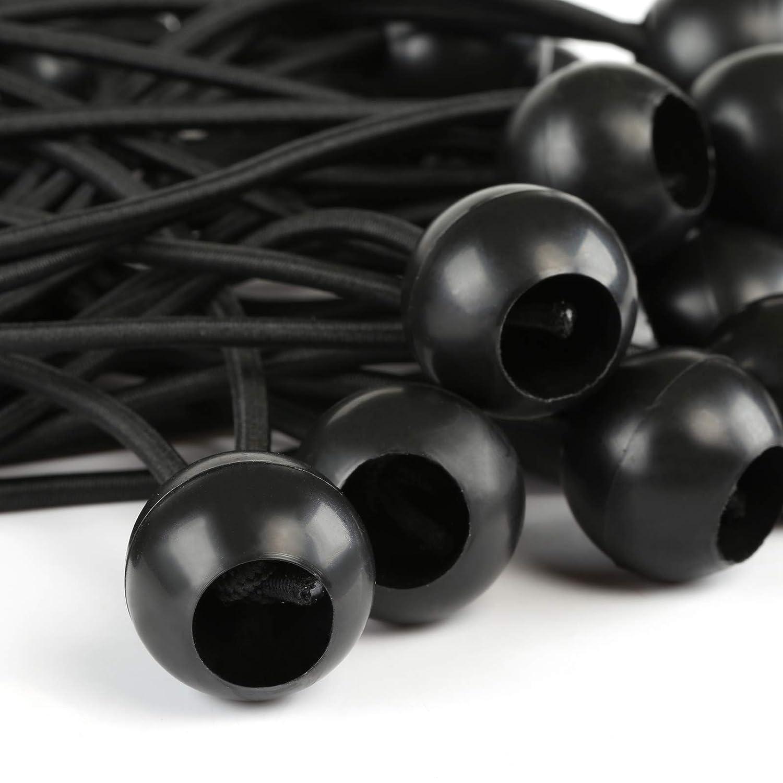 Negro Qixinhang LIHAO 25 Piezas Tensores con Bola Cuerda para Sujetar Lona Tensores Elasticos para Toldos Accesorios Tienda de Campa?a
